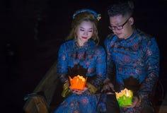 Het Hoi An Full Moon Lantern-Festival Stock Afbeeldingen
