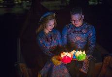 Het Hoi An Full Moon Lantern-Festival Royalty-vrije Stock Foto's