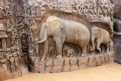 Het hol van Arjuna, mahabalipuram, chennai Stock Afbeeldingen