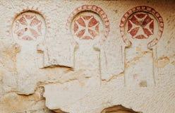Het holkerk van de freskobinnenkant, in Cappadocia, het Openluchtmuseum van Goreme royalty-vrije stock afbeeldingen