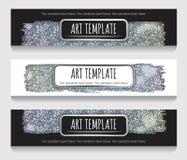 Het holografische zilver schittert bannermalplaatje Royalty-vrije Stock Foto