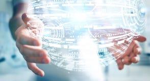 Het hologramgebied van de zakenmanholding het 3D teruggeven Stock Afbeeldingen