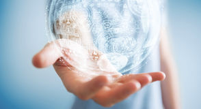 Het hologramgebied van de zakenmanholding het 3D teruggeven Royalty-vrije Stock Fotografie