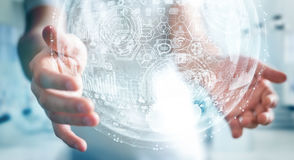 Het hologramgebied van de zakenmanholding het 3D teruggeven Royalty-vrije Stock Afbeelding