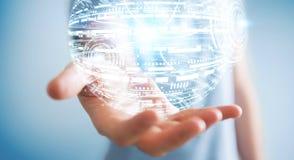 Het hologramgebied van de zakenmanholding het 3D teruggeven Stock Fotografie