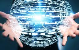 Het hologramgebied van de zakenmanholding het 3D teruggeven Royalty-vrije Stock Foto