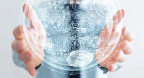 Het hologramgebied van de zakenmanholding het 3D teruggeven Royalty-vrije Stock Foto's