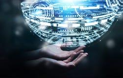 Het hologramgebied van de zakenmanholding het 3D teruggeven Royalty-vrije Stock Afbeeldingen