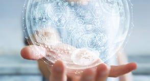 Het hologramgebied van de zakenmanholding het 3D teruggeven Stock Foto