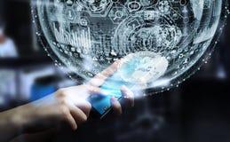 Het hologramgebied van de zakenmanholding het 3D teruggeven Stock Afbeelding