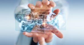Het hologramscherm met digitale die datas door 3D zakenman wordt gebruikt geeft terug Royalty-vrije Stock Fotografie