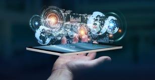 Het hologramscherm met digitale die datas door 3D zakenman wordt gebruikt geeft terug Royalty-vrije Stock Foto