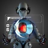 Het hologramvertoning van de Cyborgvrouw manipulatihg royalty-vrije illustratie