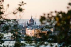 Het Hongaarse Parlement bij Zonsondergang, Boedapest Royalty-vrije Stock Fotografie