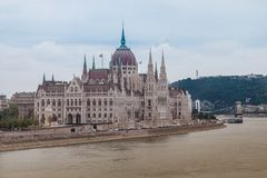 Het Hongaarse parlement in Boedapest, Hongarije royalty-vrije stock foto