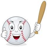 Het honkbal beduimelt omhoog Karakter met Knuppel Royalty-vrije Stock Afbeelding