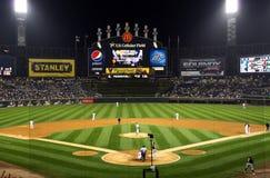 Het honkbal van de nacht Stock Fotografie
