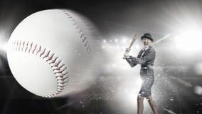 Het honkbal van het vrouwenspel Gemengde media Royalty-vrije Stock Fotografie
