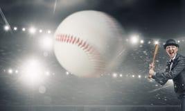 Het honkbal van het vrouwenspel Gemengde media Stock Fotografie