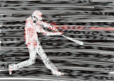 Het honkbalbeslag raakt de bal Glitch of lawaaieffect royalty-vrije illustratie