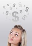 Het hoofd dat van het meisje bedrijfspictogrammen en beelden bekijkt Royalty-vrije Stock Afbeelding