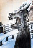 Het hoofd houten beeldhouwwerk van de draak stock afbeeldingen