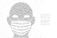 Het hoofd met Stofteken of de corpusculaire ademhalingsapparaat Abstracte Geometrische Cirkel stippelt pixelpatroon, Verontreinig royalty-vrije illustratie