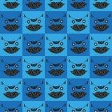 Het hoofd naadloze geruite blauwe patroon van de leuke kat stock illustratie