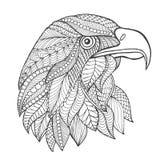 Het hoofd van de adelaar Volwassen antistress kleurende pagina Royalty-vrije Stock Afbeelding