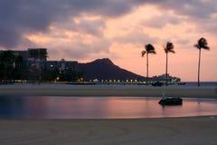 Het Hoofd van de diamant, Oahu, Hawaï, bij zonsopgang. Stock Foto