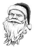 Het hoofd van de Kerstman Vector getrokken hand Illustratie Stock Afbeeldingen