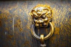 Het hoofd van de leeuw bij Verboden Stad, Peking, China Stock Afbeeldingen