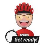 Het hoofd van de mannelijke fietsertitel wordt klaar Editable EPS10 vector illustratie