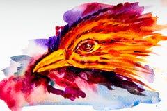 Het hoofd van de vogel wordt afgeschilderd op een witte achtergrond met waterverfverven stock illustratie