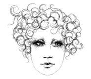 Het hoofd van de vrouw, schets Stock Illustratie