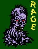 Het hoofd van de woedezombie Vector illustratie Genre van verschrikking royalty-vrije illustratie