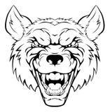 Het hoofd van de wolfsmascotte Stock Foto's