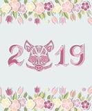 het Hoofd van 2019 en van het Varken ` s op achtergrond met bloemen wordt geïsoleerd die stock illustratie