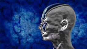Het hoofd van Humanoidtechnologie bij achtergrond met elektronische kringen stock illustratie
