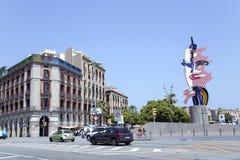 Het hoofdbeeldhouwwerk van Barcelona door Roy Lichtenstein Stock Afbeeldingen