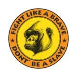Het hoofdembleem van de aap in zwart-wit Royalty-vrije Stock Foto's