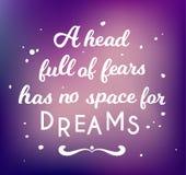 Het hoofdhoogtepunt van vrees heeft geen ruimte voor dromen vector illustratie