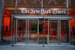 HET HET HOOFDKANTOORgebouw VAN NEW YORK TIMES Stock Foto