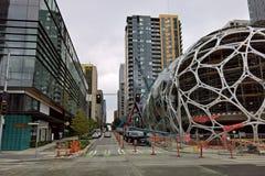 Het Hoofdkwartier van Amazonië Seattle - Biospheres in aanbouw royalty-vrije stock fotografie