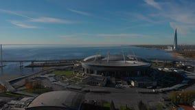 Het hoofdkwartier van het centrumgazprom van wolkenkrabberlakhta De Arena van stadionzenit Golf van Finland stock video