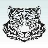 Het hoofdsilhouet van de tijger Stock Afbeeldingen