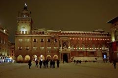 Het hoofdvierkant van Bologna na de zware sneeuwval van 2012 Stock Foto