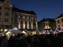 Het hoofdvierkant van Bratislava bij Kerstmis Stock Foto's