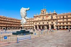 Het hoofdvierkant van de pleinburgemeester in Salamanca, Spanje Royalty-vrije Stock Foto's
