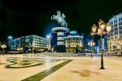 Het hoofdvierkant van de Skopjestad stock afbeelding